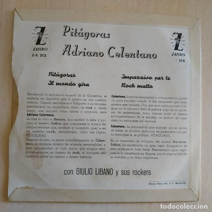 Discos de vinilo: ADRIANO CELENTANO - PITAGORAS / IMPAZZIVO PER TE / ROCK MATTO + 1 RARO EP ZAFIRO SPAIN AÑO 1960 VG+ - Foto 2 - 222247580