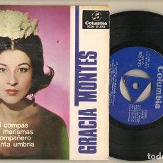 Discos de vinilo: DISCO VINILO. SINGLE. GRACIA MONTES. SEVILLA LLEVA EL COMPAS. COLUMBIA SCGE 81.070. (P/C61). Lote 222262558