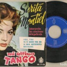 Discos de vinilo: DISCO VINILO. SINGLE. SARITA MONTIEL. MI ÚLTIMO TANGO. HISPAVOX HH 17-126. (P/C61). Lote 222263862