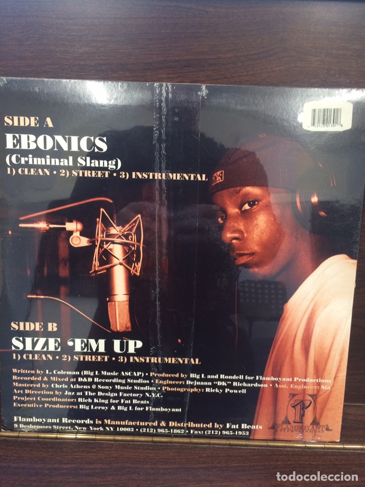 Discos de vinilo: BIG L. Ebonics-SizeEm Up. Nuevo. - Foto 2 - 222272241