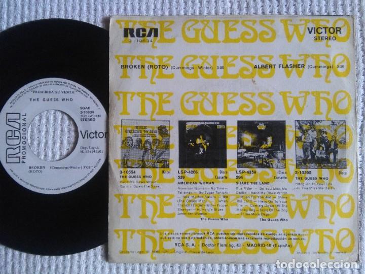 "Discos de vinilo: THE GUESS WHO - "" BROKEN (ROTO) "" SINGLE 7"" PROMO 1971 SPAIN - Foto 2 - 222287068"