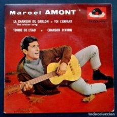 Discos de vinilo: MARCEL AMONT - LA CHANSON DU GRILLON - EP FRANCES 1960 - POLYDOR. Lote 222297917