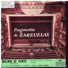 Discos de vinilo: FRAGMENTOS DE ZARZUELAS SELECCIÓN 45 - EP 1960. Lote 222305487