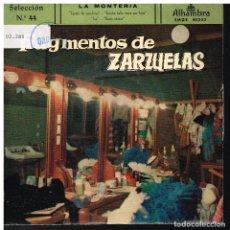 Discos de vinilo: FRAGMENTOS DE ZARZUELAS SELECCIÓN 44 - EP 1960. Lote 222305570