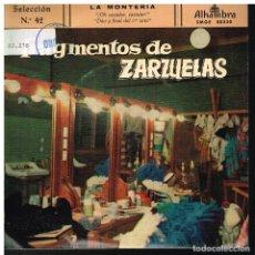 Discos de vinilo: FRAGMENTOS DE ZARZUELAS SELECCIÓN 42 - EP 1960. Lote 222305835