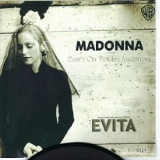 Discos de vinilo: MADONNA MEGA RARE 7 INCH VINYL SINGLE DON´T CRY FOR ME ARGENTINA IN UNIQUE PIC SLEEVE. Lote 222331596