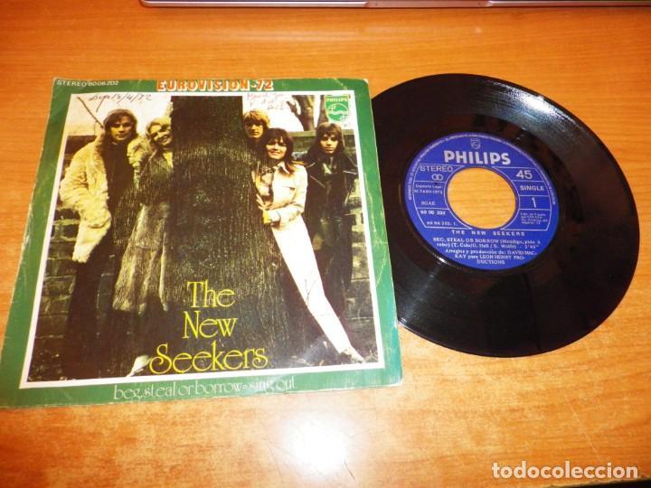 THE NEW SEEKERS BEG STEAL OR BORROW EUROVISION 1972 UK SINGLE VINILO 1972 ESPAÑA CONTIENE 2 TEMAS (Música - Discos - Singles Vinilo - Festival de Eurovisión)