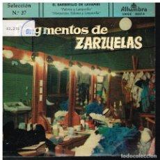 Discos de vinilo: FRAGMENTOS DE ZARZUELAS SELECCIÓN 37 - EP 1959. Lote 222336148