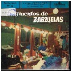 Discos de vinilo: FRAGMENTOS DE ZARZUELAS SELECCIÓN 12 - EP 1959. Lote 222336785