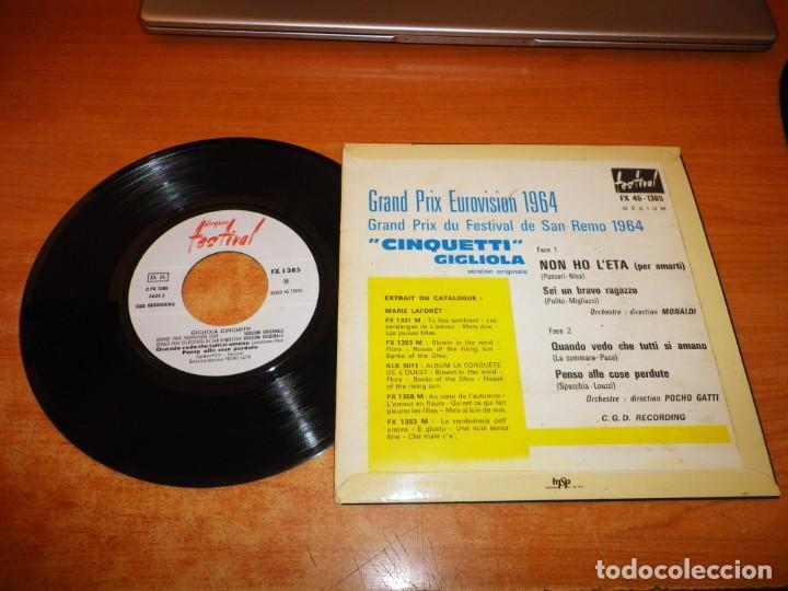 Discos de vinilo: GIGLIOLA CINQUETTI Non Ho Leta EUROVISION ITALIA 1964 EP VINILO FRANCIA AÑO 1964 CONTIENE 4 TEMAS - Foto 2 - 222339262