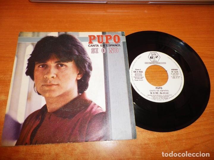 PUPO SI O NO CANTA EN ESPAÑOL SINGLE VINILO PROMO DEL AÑO 1981 ESPAÑA CONTIENE 2 TEMAS (Música - Discos de Vinilo - Singles - Pop - Rock Extranjero de los 80)