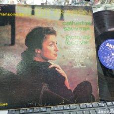 Discos de vinilo: CHANSONS DE LOUIS ARAGÓN PAR CATHERINE SAUVAGE AVEC JACQUES LOUSSIER CANADA. Lote 222358210