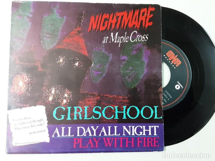 GIRLSCHOOL, ALL DAY ALL NIGHT, PLAY WITH FIRE (Música - Discos - Singles Vinilo - Heavy - Metal)