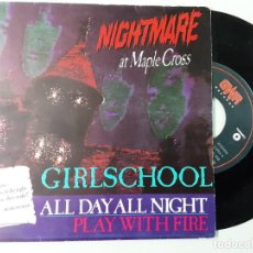 Discos de vinilo: GIRLSCHOOL, ALL DAY ALL NIGHT, PLAY WITH FIRE. Lote 222366898