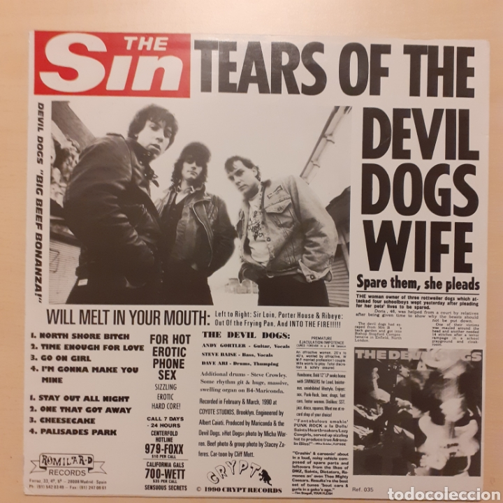 Discos de vinilo: The Devildogs. Big Beef Bonanza!. Romilar-D 1990 - Foto 2 - 222376301