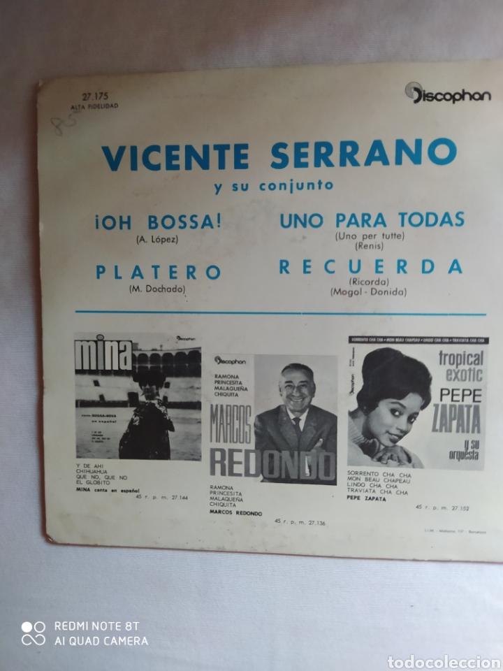 Discos de vinilo: VICENTE SERRANO Y SU CONJUNTO/UNO PARA TODAS/RECUERDA/!! OH BOSSA+1.EP1963.DISCOPHON - Foto 3 - 222407201