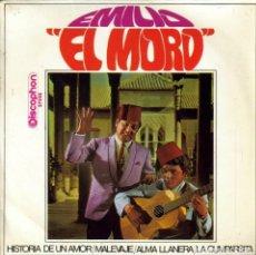 Discos de vinilo: EMILIO EL MORO - HISTORIA DE UN AMOR + MALEVAJE + ALMA LLANERA + CUMPARSITA EP 1968. Lote 222430006