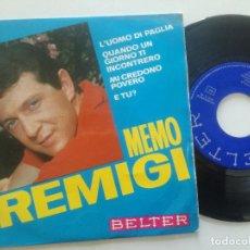 Discos de vinilo: MEMO REMIGI - L'UOMO DI PAGLIA +3 - EP BELTER 1966. Lote 222438566