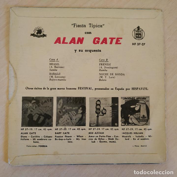 Discos de vinilo: Alan Gate Y Su Orquesta ?– Fiesta Típica - Brasil / Babalu / Frenesi / Noche de Ronda EP SPAIN 1960 - Foto 2 - 222443328