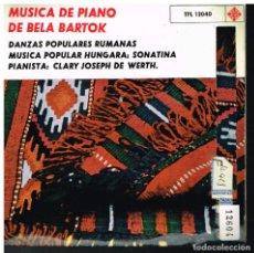 Discos de vinilo: MÚSICA PARA PIANO DE BELA BARTOK - PIANO: CLARY JOSEPH DE WERTH - EP 1963. Lote 222455486