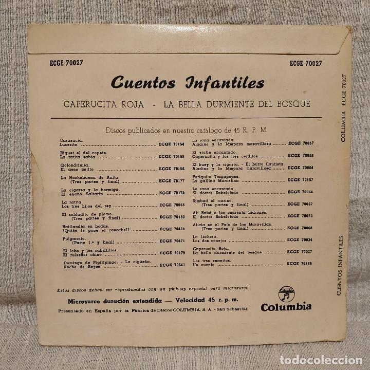 Discos de vinilo: CUENTOS INFANTILES / CAPERUCITA ROJA / LA BELLA DURMIENTE DEL BOSQUE - RARO EP COLUMBIA ECGE 70027 - Foto 2 - 222469907