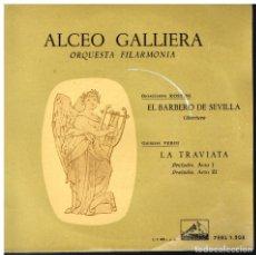 Discos de vinilo: ALCEO GALLIERA. ORQUESTA FILARMONIA - EL BARBERO DE SEVILLA, ROSSINI / LA TRAVIATA, VERDI - EP 1958. Lote 222495320