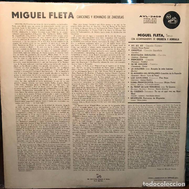 Discos de vinilo: LP argentino y recopilatorio de Miguel Fleta año 1961 - Foto 2 - 222501022