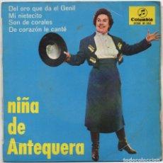 Discos de vinilo: NIÑA DE ANTEQUERA - DEL ORO QUE DA EL GENIL.../ EP DE 1987 / BUEN ESTADO RF-4638. Lote 222514856