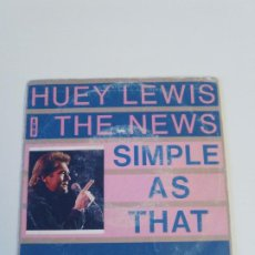 Discos de vinilo: HUEY LEWIS AND THE NEWS SIMPLE AS THAT / WALKING ON A THIN LINE ( 1987 CHRYSALIS ESPAÑA ). Lote 222540616