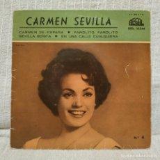 Discos de vinilo: CARMEN SEVILLA - EN UNA CALLE CUALQUIERA / CARMEN DE ESPAÑA + 2 - MUY RARO EP REGAL SPAIN 1959. Lote 222579863