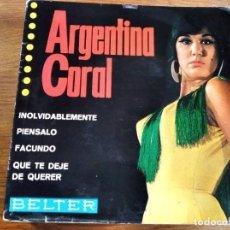 Discos de vinilo: ARGENTINA CORAL - QUE TE DEJE DE QUERER + 3 *********** RARO EP RUMBA 1965 VERSIÓN JOHNNY TILLOTSON. Lote 222611088