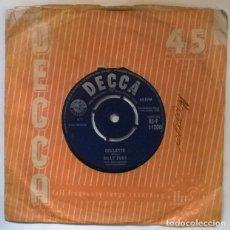 Discos de vinilo: BILLY FURY. COLLETTE/ BABY HOW I CRIED. DECCA, UK 1960 SINGLE. Lote 222613257