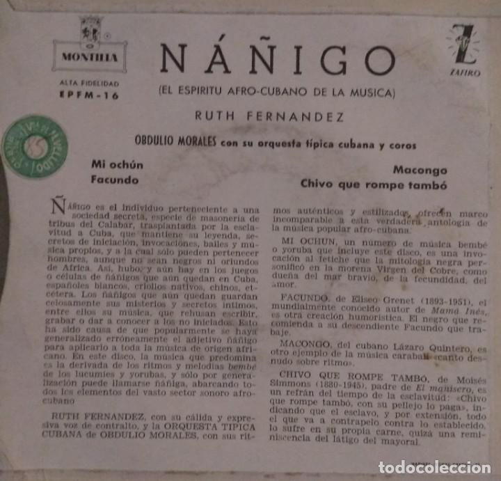 Discos de vinilo: RUTH FERNANDEZ - ÑÁÑIGO - Música afrocubana EP - Foto 2 - 222628485