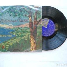 """Discos de vinilo: VARIOUS ?– 8º FESTIVAL DELLA CANZONE ITALIANA - SAN REMO LP 10"""" 1958 ESPAÑOL. Lote 222660981"""