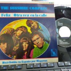 Discos de vinilo: THE SUNSHINE COMPANY SINGLE FELIZ ESPAÑA 1967. Lote 222663745