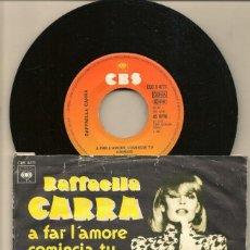 Discos de vinilo: DISCOS. SINGLES VINILO: RAFFAELLA CARRA. A FAR L´AMRE COMINCIA TU. ITALIANO. (P/B72.C2). Lote 222677121