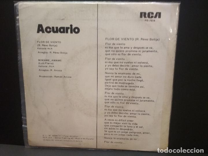Discos de vinilo: ACUARIO FLOR DE VIENTO SINGLE SPAIN 1977 PDELUXE - Foto 2 - 222703988