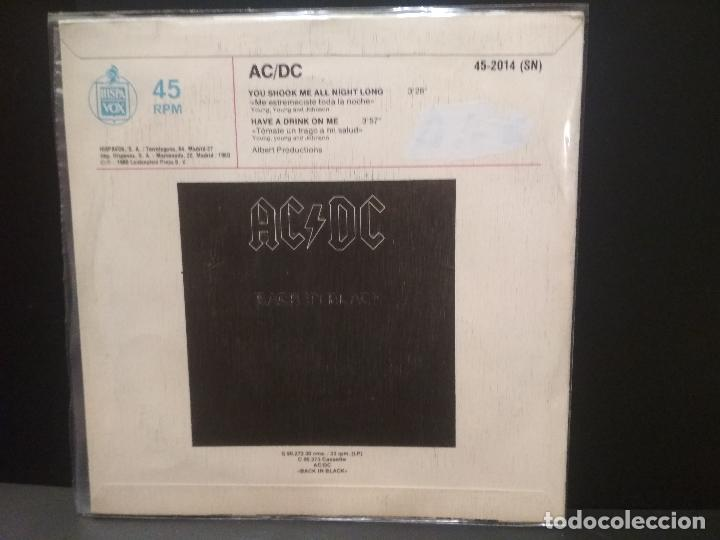 Discos de vinilo: AC/DC YOU SHOOK ME ALL NIGHT LONG SINGLE SPAIN 1980 PDELUXE - Foto 2 - 222704226