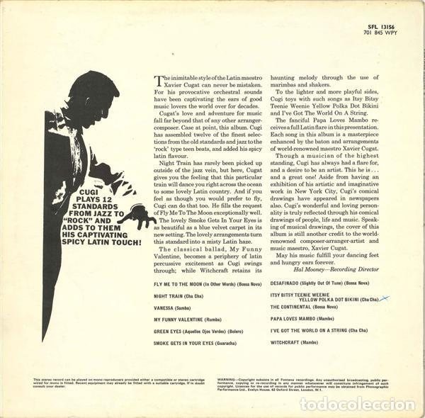 Discos de vinilo: Xavier Cugat And His Orchestra - Cugat Caricatures - Fontana SFL 13156 - 1969 - Edición UK - Foto 2 - 222740430