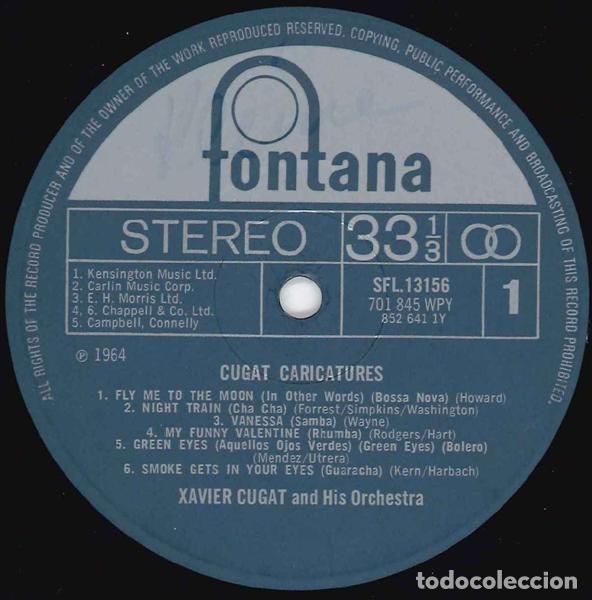 Discos de vinilo: Xavier Cugat And His Orchestra - Cugat Caricatures - Fontana SFL 13156 - 1969 - Edición UK - Foto 3 - 222740430