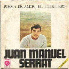 Discos de vinilo: JOAN MANUEL SERRAT (SG) 1968. Lote 222805096