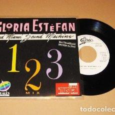 Discos de vinilo: GLORIA ESTEFAN AND MIAMI SOUND MACHINE - 1, 2, 3 MEDLEY MIX - PROMO SINGLE - 1988. Lote 222846552
