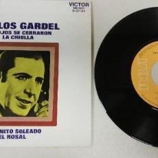 """Discos de vinilo: 1020- CARLOS GARDEL SUS OJOS SE CERRARON LA CRIOLLA - VIN 7"""" POR VG+ DIS VG+. Lote 222869717"""