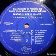 Discos de vinilo: SINGLE - DIAGNÓSTICO POR EL LLANTO DEL BEBÉ - DPTO. PEDIATRIA GROOTE SCHUUR HOSPITAL, 1971 PFIZER. Lote 222929100