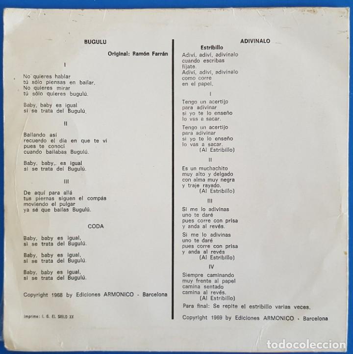 Discos de vinilo: SINGLE / III FESTIVAL DE LA CANCIÓN INFANTIL TVE / ADIVINALO - BUGULU / PALOBAL S-43 / 1969 - Foto 2 - 223290331