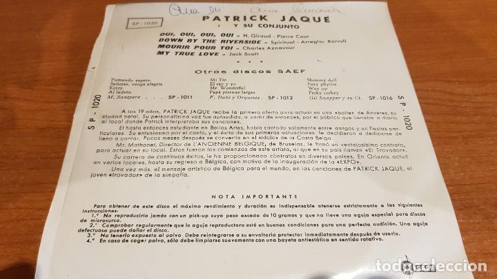 Discos de vinilo: PATRICK JAQUE / OUI OUI OUI OUI / EP - SAEF-1959 / MBC. ***/*** - Foto 2 - 223334452