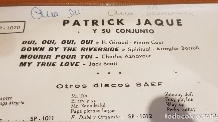 Discos de vinilo: PATRICK JAQUE / OUI OUI OUI OUI / EP - SAEF-1959 / MBC. ***/*** - Foto 3 - 223334452