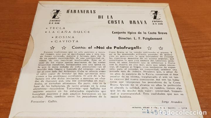 Discos de vinilo: EL NOI DE PALAFRUGELL / HABANERAS DE LA COSTA BRAVA / EP - ZAFIRO-1962 / MBC. ***/*** - Foto 2 - 223335376
