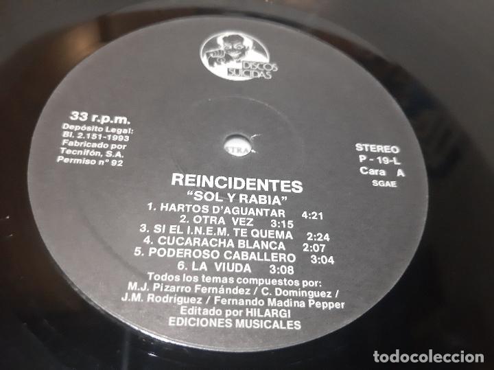 Discos de vinilo: REINCIDENTES -SOL Y RABIA- (1993) LP DISCO VINILO - Foto 2 - 257360300