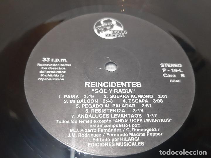 Discos de vinilo: REINCIDENTES -SOL Y RABIA- (1993) LP DISCO VINILO - Foto 3 - 257360300